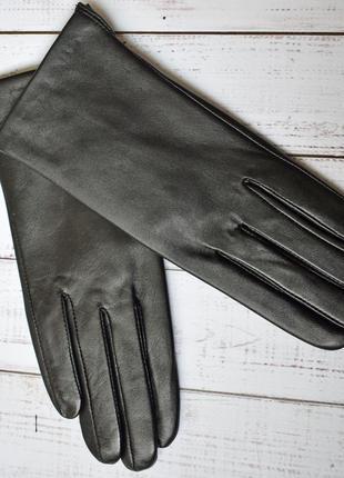 Перчатки кожаные женские черные классические лайковые