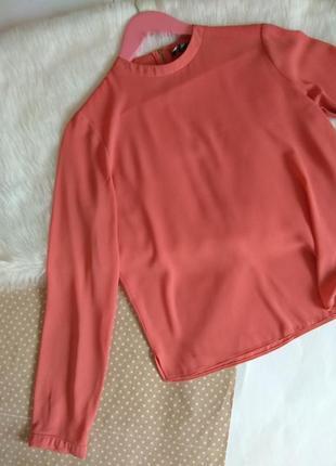 Ніжна персикова блуза до довгого рукава з змійкою / базова блузка primark