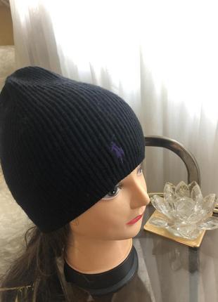 Отличная шапка шапочка бинни, шерстяная, натуральная шерсть мерино, ralph lauren