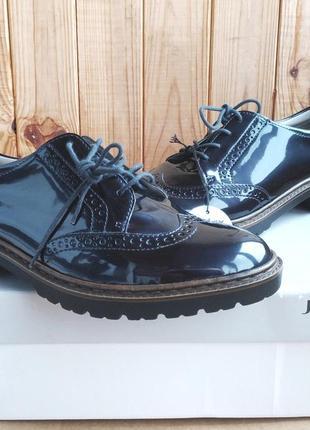 Шикарные лакированные темно-синие оксфорды туфли полуботинки броги jenny by ara