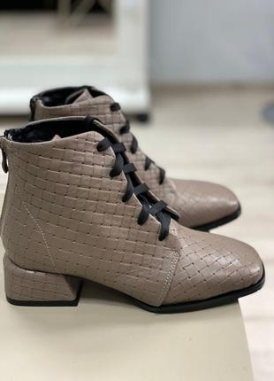 Ботинки с итальянской кожи кожаные ботиночки осенние зимние