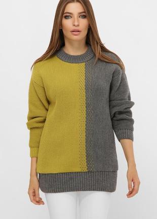 Длинный двухцветный свитер оливковый 217