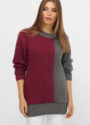 Длинный двухцветный свитер фуксия 217