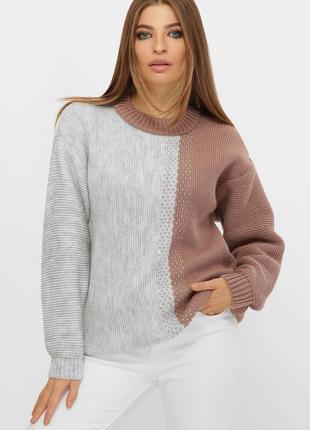Длинный двухцветный свитер серый 217