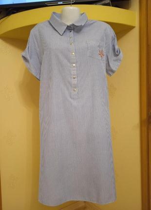Платье рубашка полосатое 54 размер