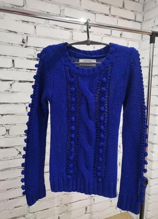 Теплий синий свитер с
