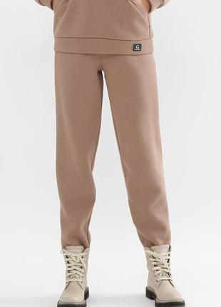 Женские теплые штаны с начесом капучино