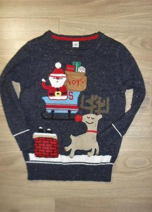 Новогодний свитер на 4-5лет рост 104-110