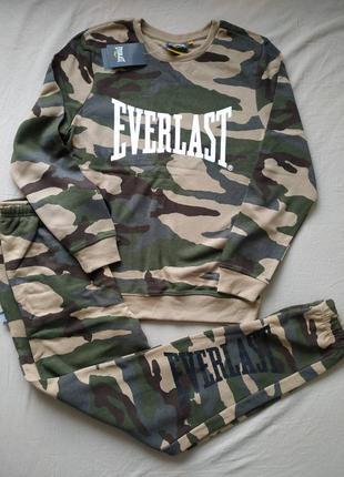Фирменный мужской спортивный костюм на флисе everlast оригинал хаки