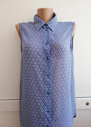 Блуза синяя цветочный принт