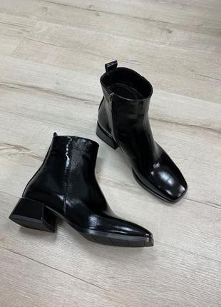 Lux обувь! ботинки женские натуральная лаковая кожа замша деми зима