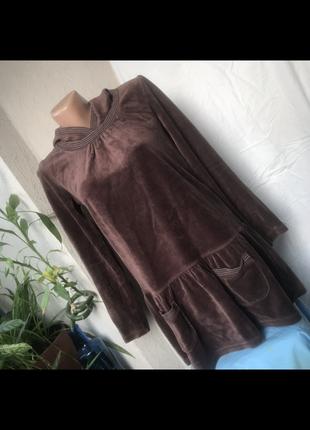 Кофта с капюшоном детская коричневая мягкая туника с  карманами платье детское для девочки