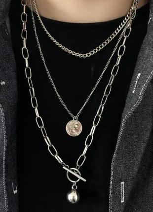 Трендовое многослойное ожерелье