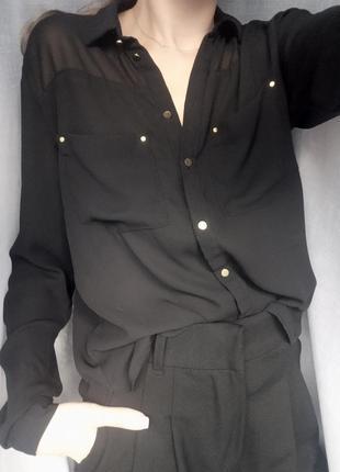 Чёрная шифоновая рубашка блуза