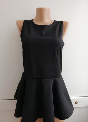 Блуза черная с баской женская
