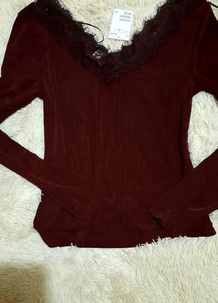 Блуза, бордовая кофточка с кружевом