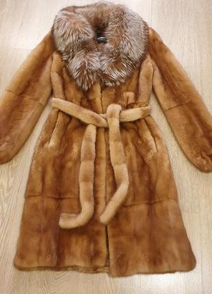 Норковая шуба magic furs с песцовым воротником
