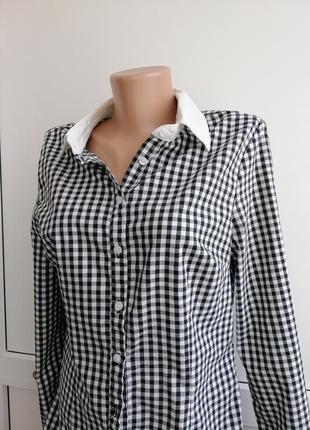 Рубашка черная белая в клеточку