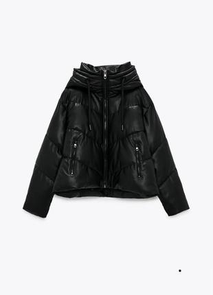 Стеганная куртка zara иск кожа новая коллекция
