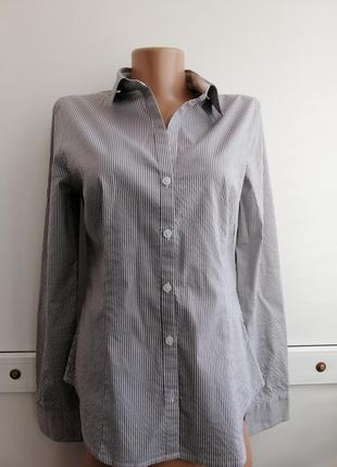 Рубашка серая белая в полосочку