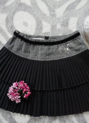 Юбка тёплая плиссе на девочку, школьная юбка, нарядная юбка, стильная юбка