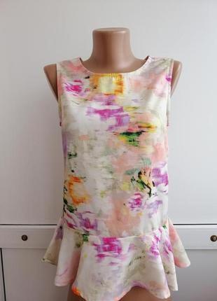Блуза розовая белая с баской