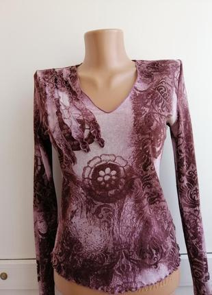 Блуза фиолетовая принт тонкая