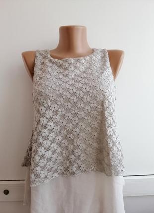 Блуза серая с кружевом