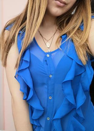 Блуза синяя с рюшами