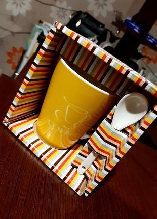Чашка кофе-модерн с ложкой, 320 мл