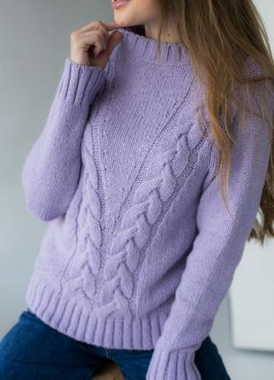 Джемпер с двойным плетением косичка
