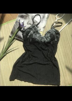 Чёрная бельевая майка ночнушка ночная женская для сна корсет на завязках