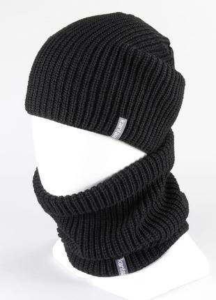 Вязаная шапка с buff снуд унисекс размер взрослый на флисе зимняя