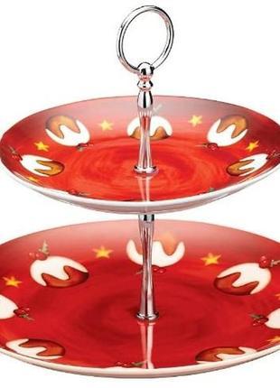 Тортовница/cтойка для торта керамическая двухъярусная kitchen craft jolly santa 28 cм