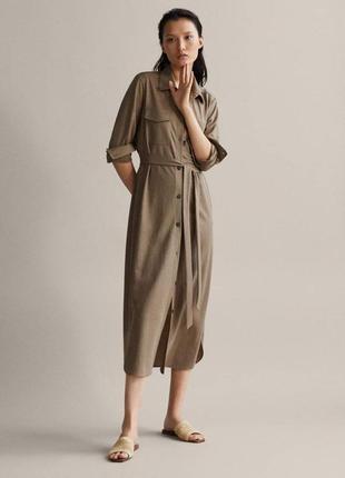 Massimo dutti платье рубашка, длинное платье на пуговицах