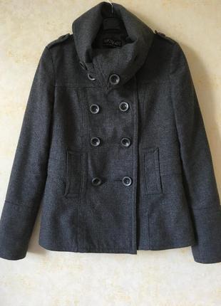 Пальто полупальто zara жакет шерсть в составе, легкое демисезонное пальто