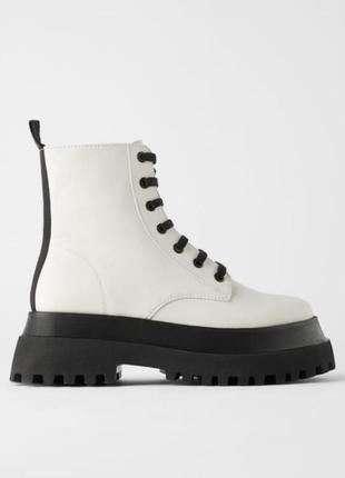 Кожанные ботинки на тротуарной подошве zara