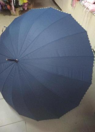 Зонт трость scotland темно синий на 16 спиц большой с ручкой
