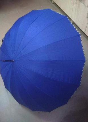 Зонт трость scotland синий на 16 спиц большой с ручкой