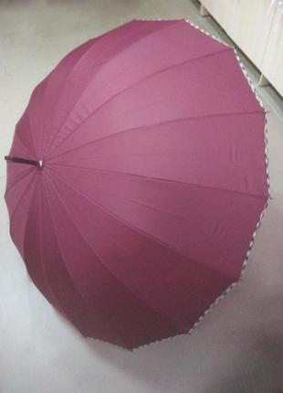Зонт трость scotland марсала бордо на 16 спиц большой с ручкой