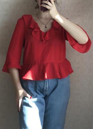 Красная шифоновая блузка от top shop