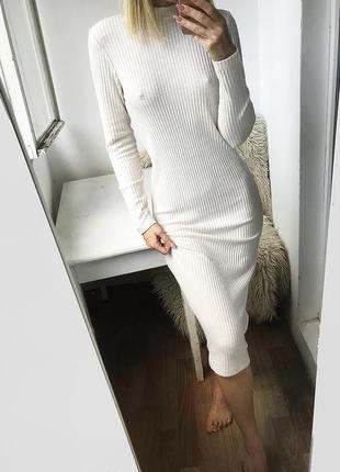 Длинное мягкое базовое платье с горлом, вязаное платье миди в рубчик