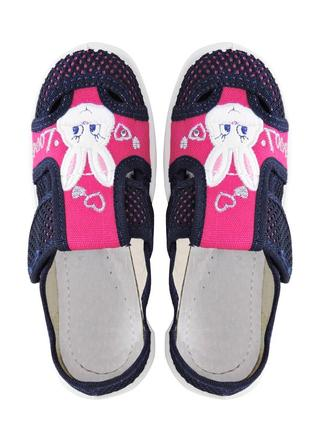 Текстильные тапочки для девочки. синие с розовым. 19 см