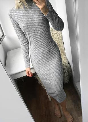 Длинное мягкое базовое серое платье с горлом, вязаное платье миди в рубчик