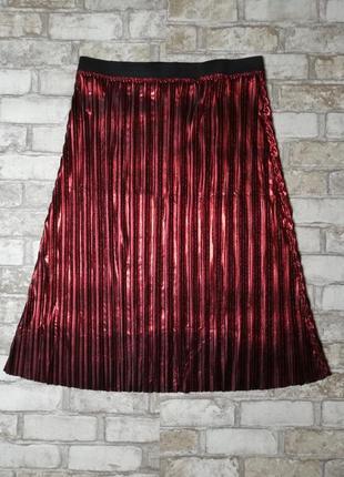 Нарядная блестящая юбка миди плиссе