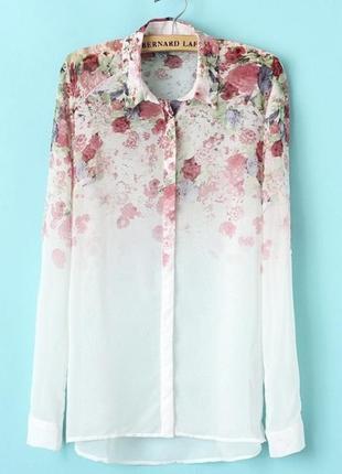 Рубашка женская шифоновая цветы