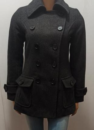 Logg, h&m , теплое демисезонное двубортное  пальто, р-р xs