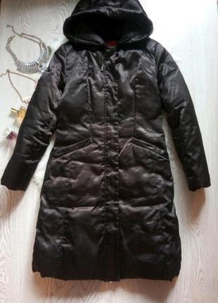 Черный длинный зимний пуховик 90% пух натуральный куртка с капюшоном пальто в пол