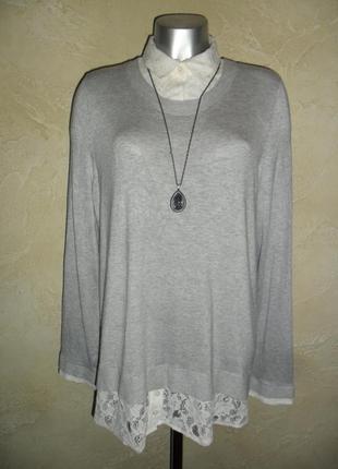 Приятная серая вискозная кофточка джемпер с рубашкой george xxl-4xl 20