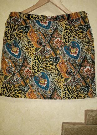 Крутая юбка в винтажном стиле в принт